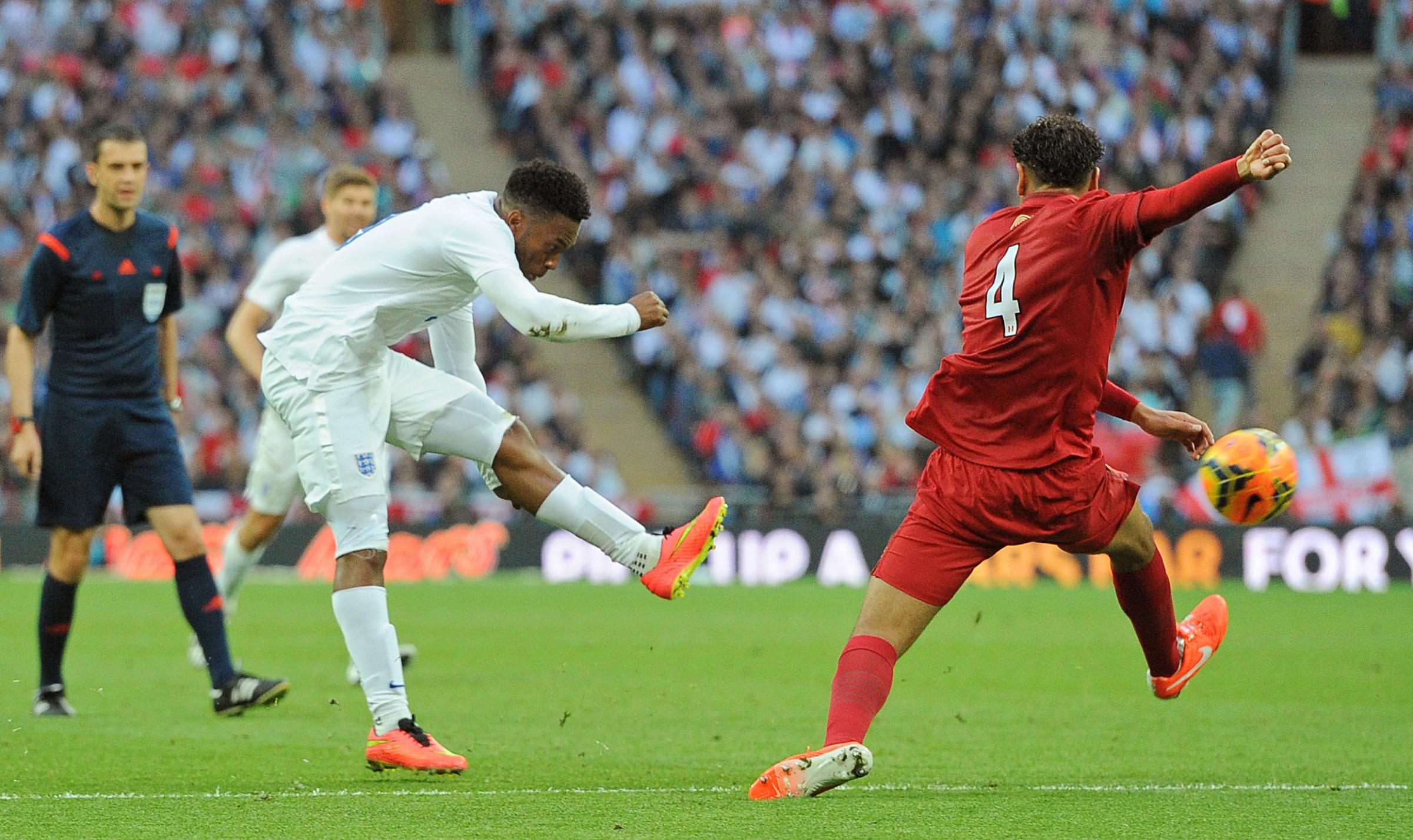 DREAM STRIKE: Daniel Sturridge curls home England's opening goal during Friday's 3-0 victory over Peru