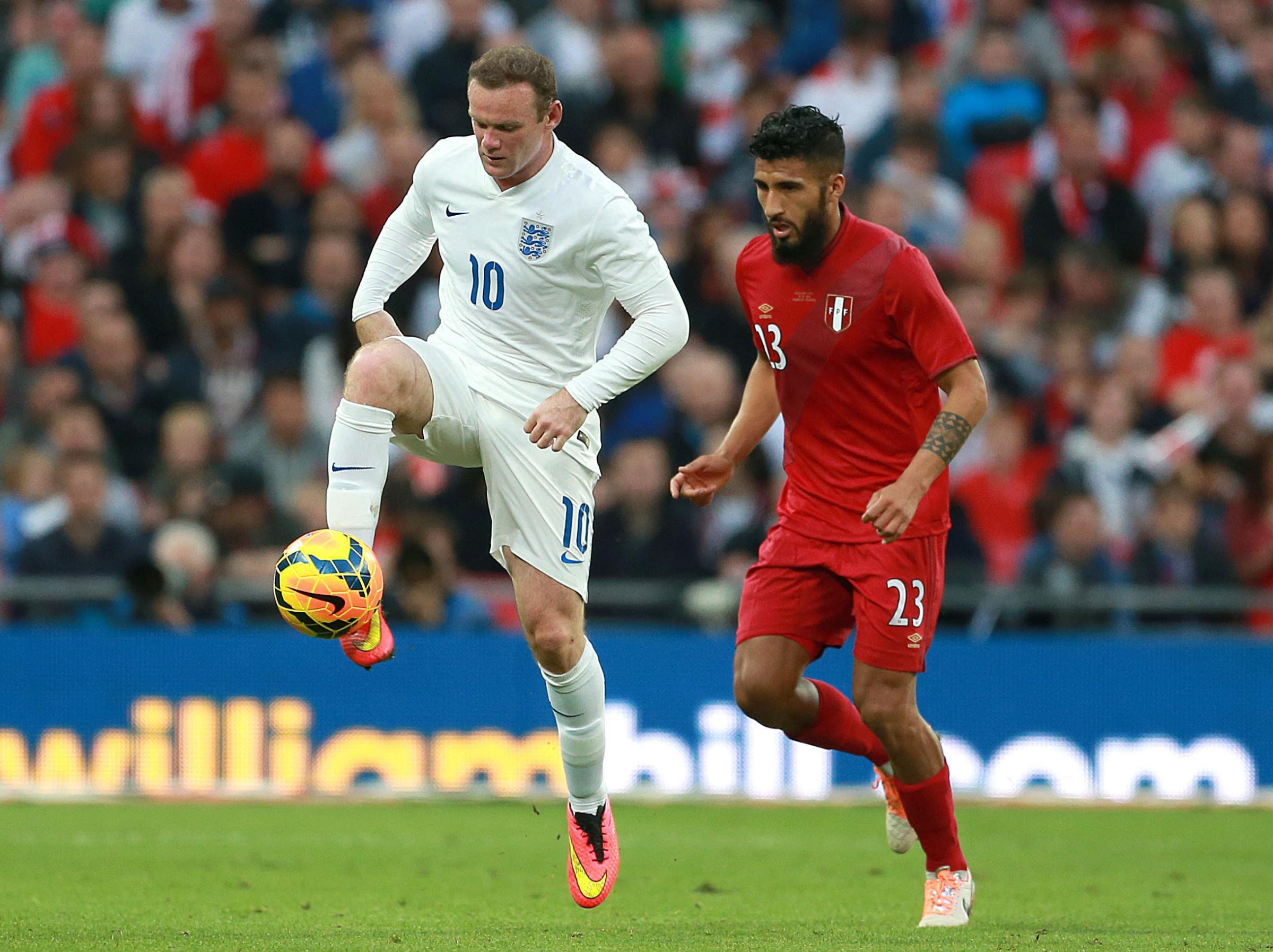 "OBSESSION: Roy Hodgson claims the country is ""obsessed"" with Wayne Rooney, pictured during Friday's friendly win over Peru"