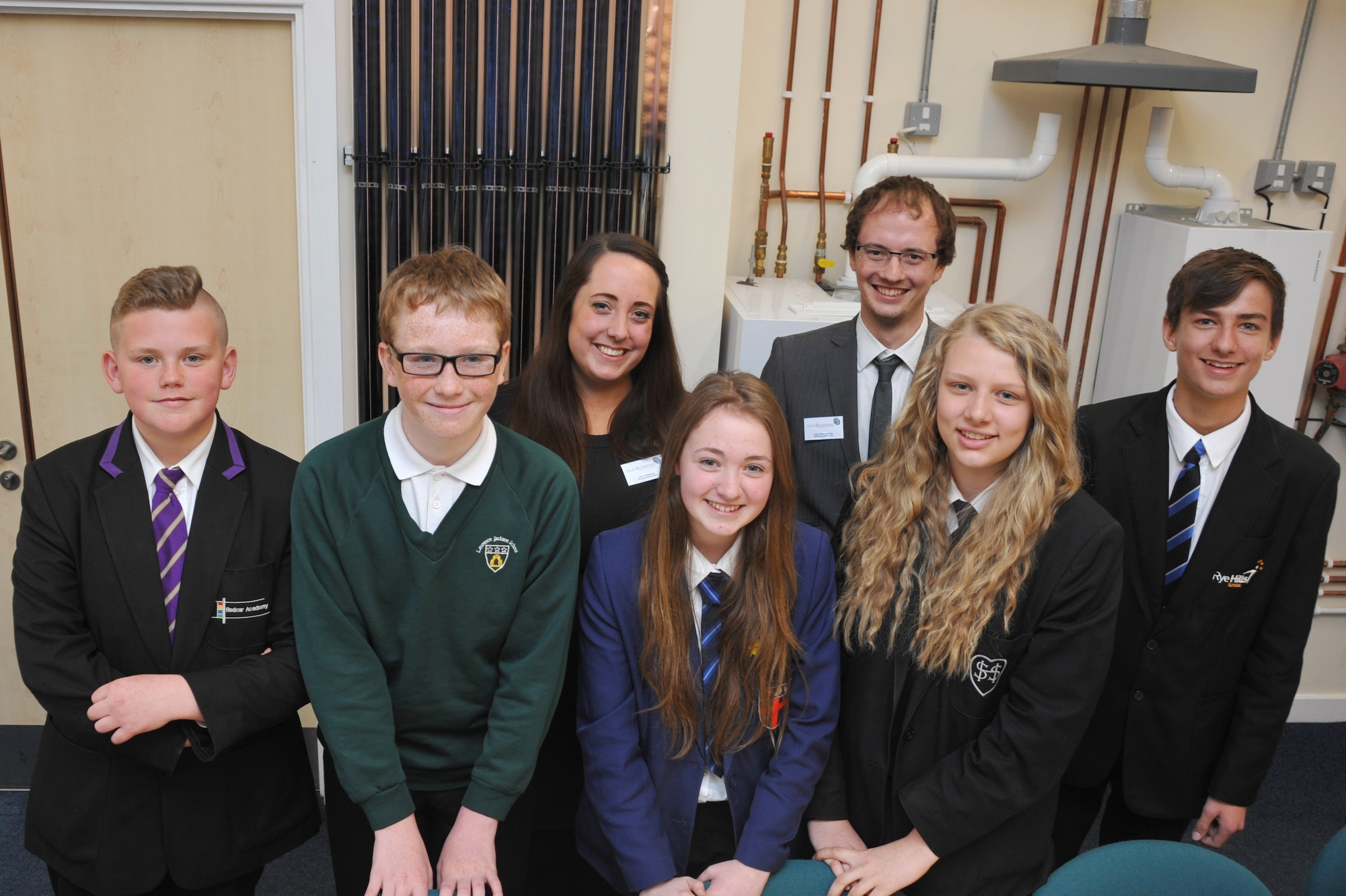 Pictured in Redcar and Cleveland College's renewables Viessmann Suite are (from left) Thomas Burgess from Redcar Academy, Euan Martin from Laurence Jackson School, Leila Tavendale from Parsons Brinkerhoff, Olivia Horne from