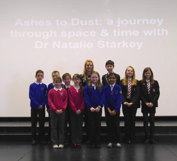 Pupils from a cross-section of Darlington schools enjoy a lecture on astronomy at Polam Hall School