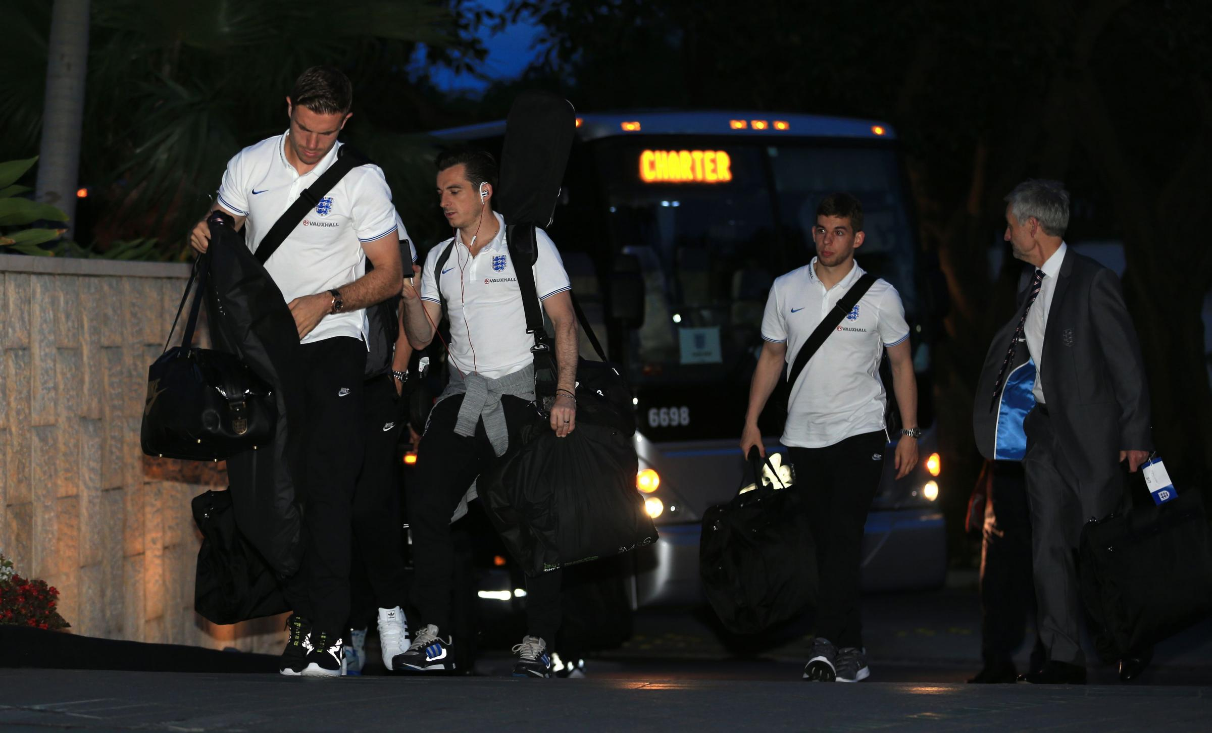 USA ARRIVAL: Jordan Henderson, left, and Leighton Baines at England's Miami hotel