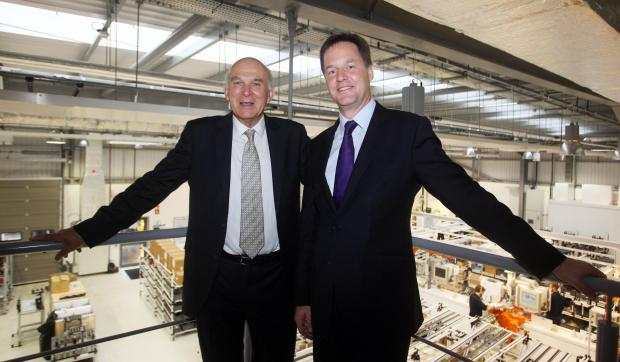 REGIONAL INVESTMENT: Deputy Prime Minsiter Nick Clegg and Business Secretary Dr Vince Cable have visited Rolls-Royce's £100m Washington plant to unveil £45m development plans