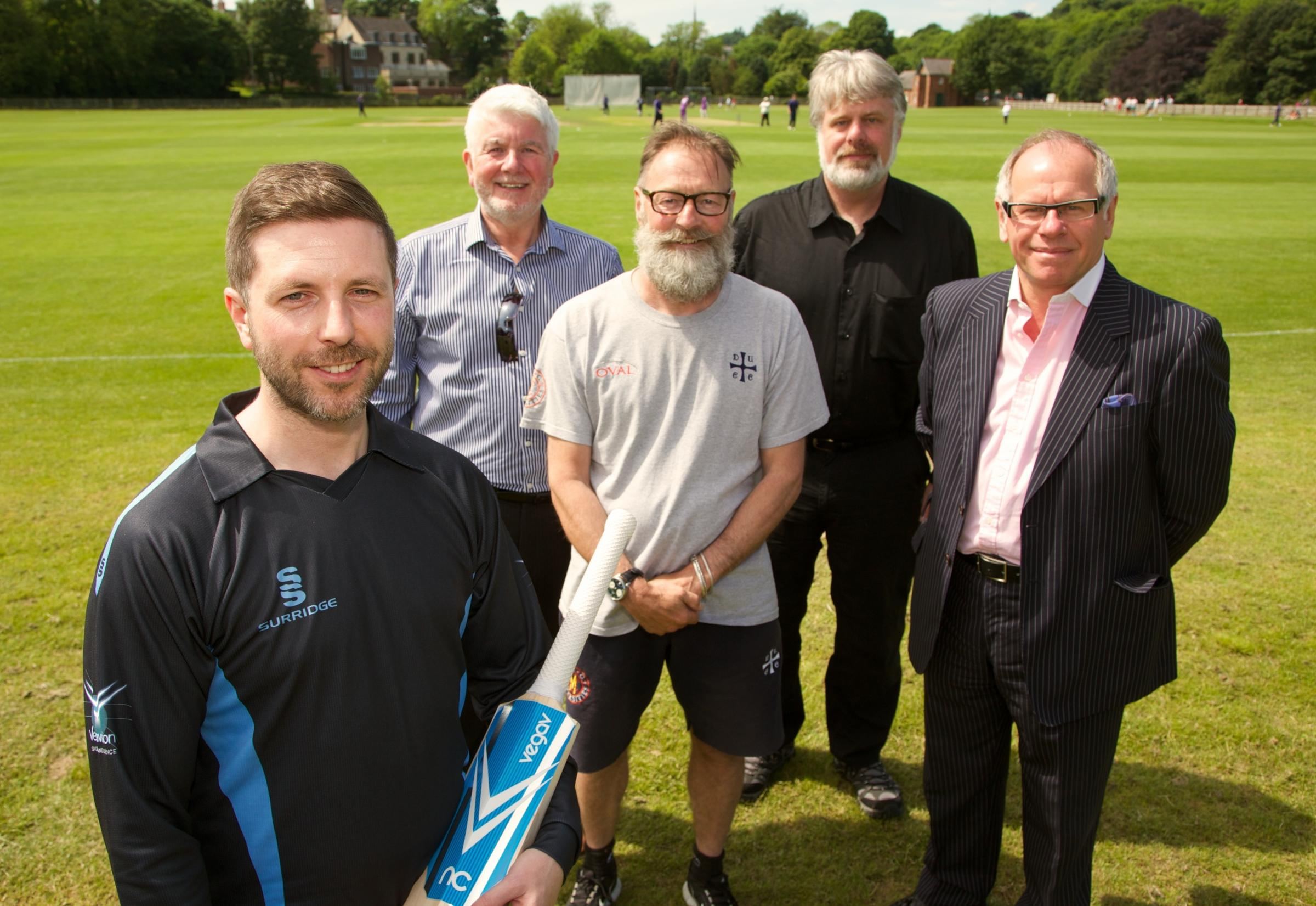 BOWLED OVER: Pictured from left to right are Mel O'Connor, Vega V's Ray Rutter, Graeme Fowler, Professor Andrew Stockman and Norman Peterson
