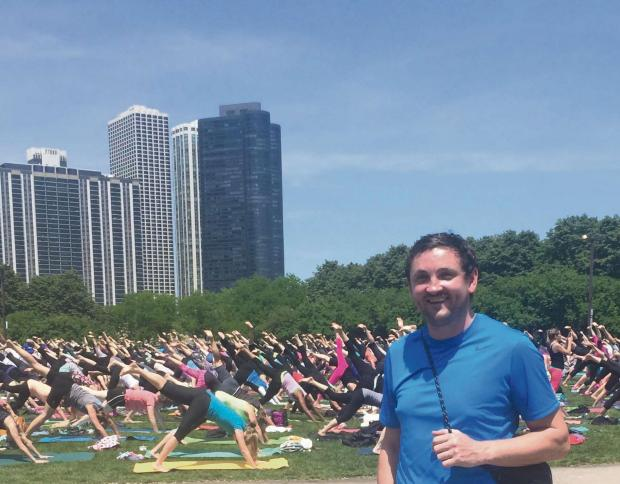 WINDY CITY: Our weekly columnist Paul Gough stumbled across this open air yoga class in Chicago last weekend