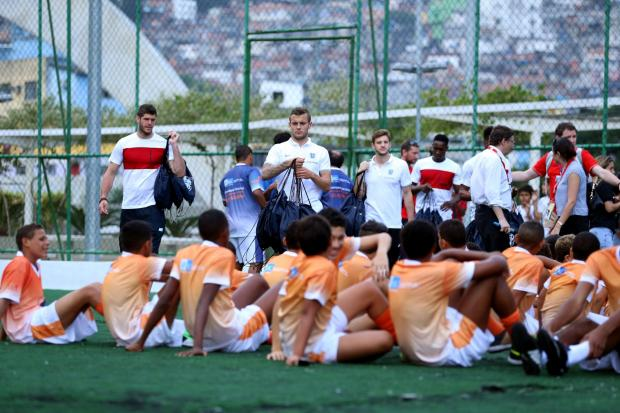 SEEING THE SIGHTS: Jack Wilshire uring a visit to the Complexo Esportivo da Rocinha