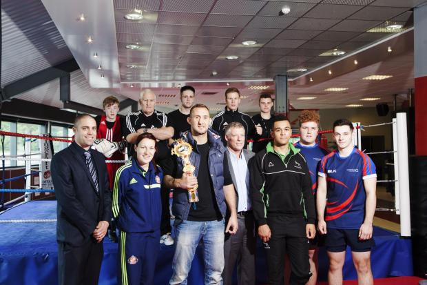 North-East sports stars pictured at the partnership launch event at the Northern Echo Arena including Sunderland Ladies captain Steph Bannon (second from left), champion boxer Jon-Lewis Dickinson (centre with belt),  Newcastle Falcons player Zach Kibiridg