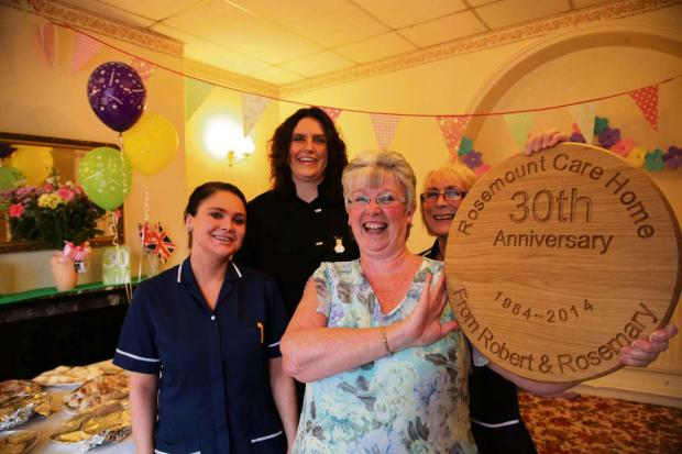 CARE TAKEN: Staff at Rosemount Care Home in Consett where they are celebrating 30 years. From left Samantha Soulsby, Kerry Bell, manager Mary Westgarth and Kathleen Turner. Picture: ANDY LAMB