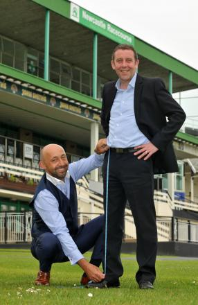 MEASURING UP: Julian Blades, left, with David Williamson, Newcastle Racecourse executive director