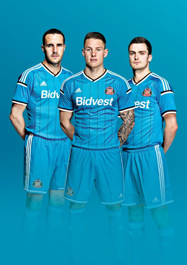The Northern Echo: FEELING BLUE: Sunderland AFC have unveiled its new away kit for the 2014-15 Barclays Premier League season, which will launch on Friday, June 27. John O'Shea, Connor Wickham and Adam Johnson are pictured modelling the new kit