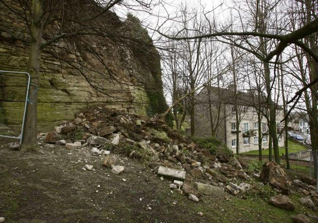 EARLIER LANDSLIP: The scene at Barnard Castle in 2009 when part of the wall collapsed