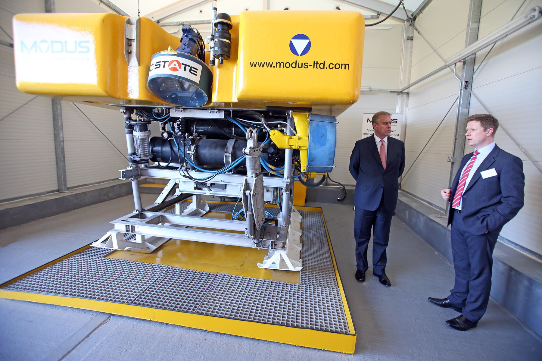 ROYAL OCCASION: Prince Andrew talks to Jake Tompkins, Modus Seabed Intervention's managing director, next to a remotely operated vehicle during his visit to Darlington College earlier this year