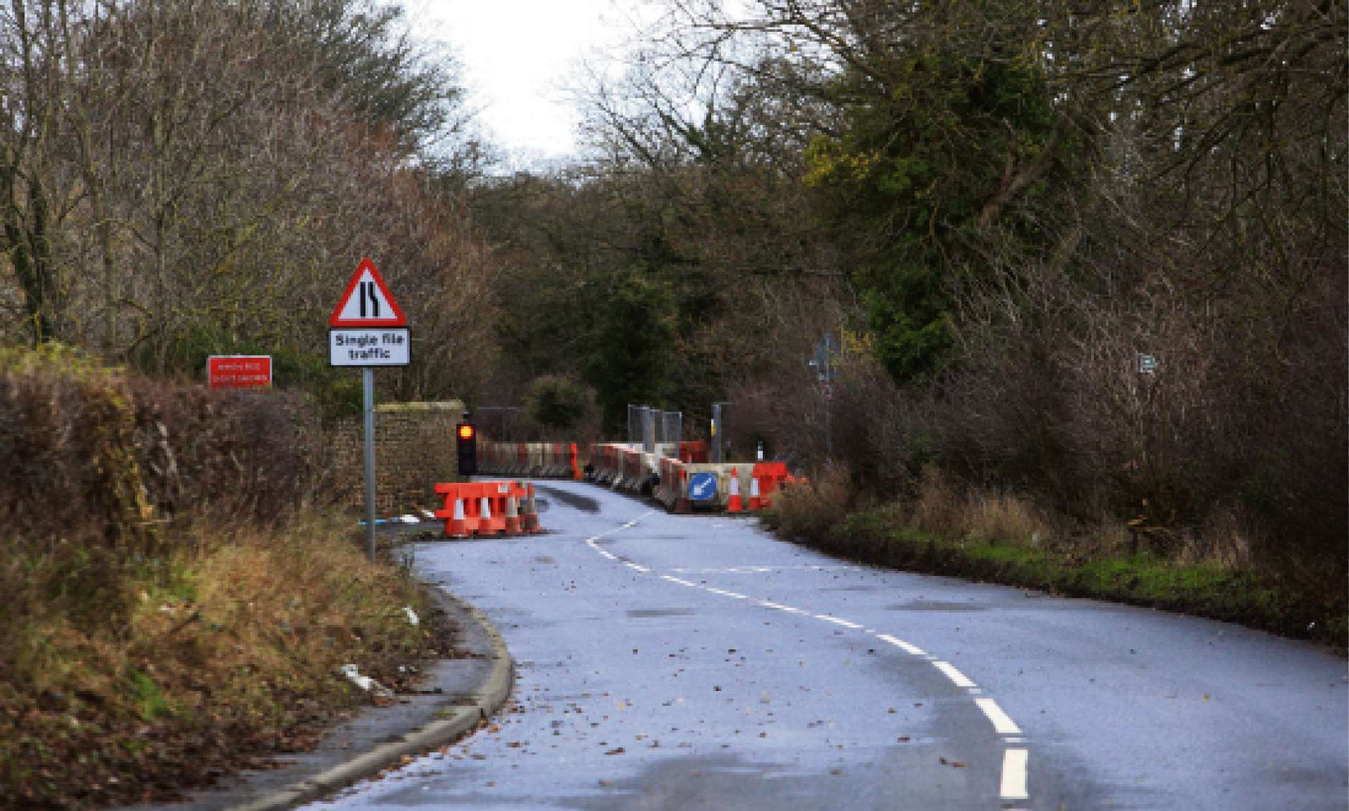 Work is underway to repair the landslip on the A67 but concerns have been raised over the danger posed by the diversion route's overgrown verges