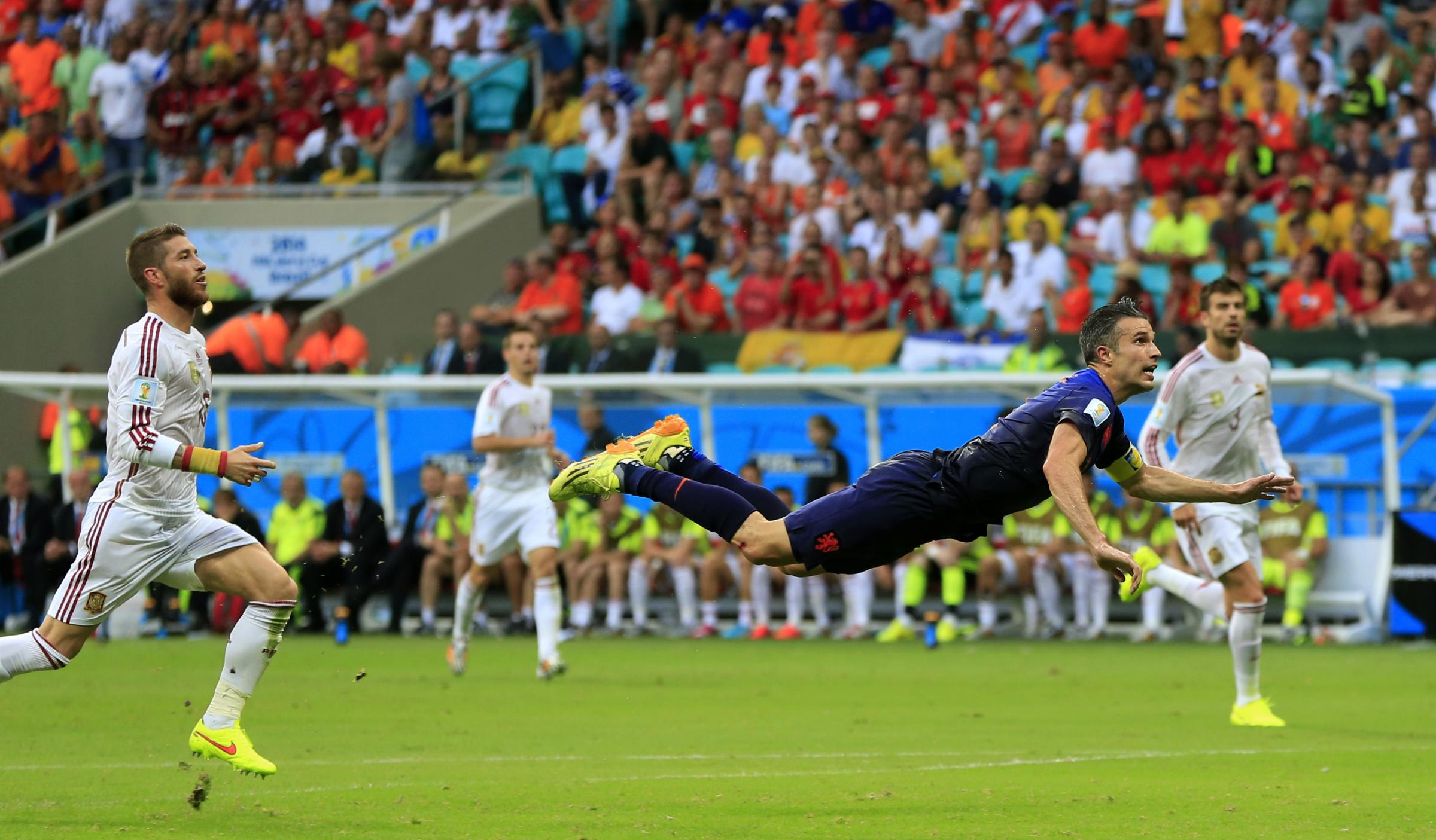 GOLDEN GOAL: Robin van Persie's headed goal against Spain was one of the moments of the World Cup so far