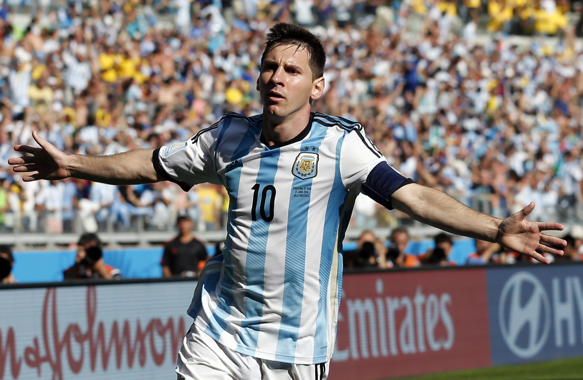 MATCH WINNER: Lionel Messi's stoppage-time strike enabled Argentina to beat Iran