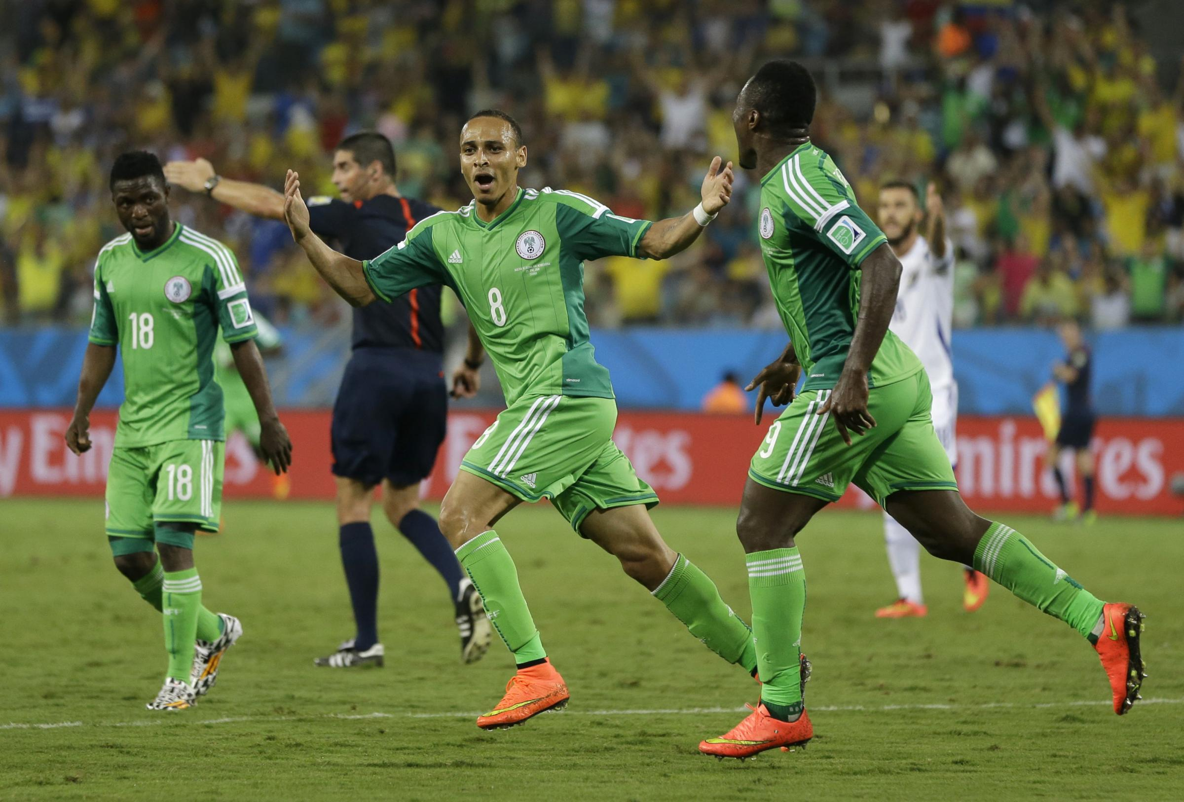 WINNING STRIKE: Nigeria's Peter Odemwingie celebrates after scoring the only goal of the game against Bosnia