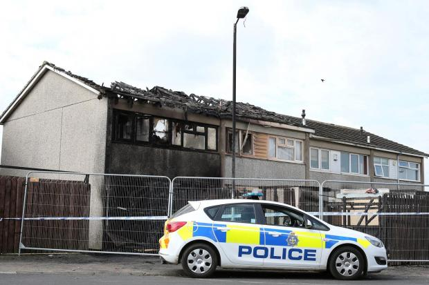 FIRE DAMAGED: Properties on Aldbrough Walk n Darlington which were fire damaged Picture: CHRIS BOOTH