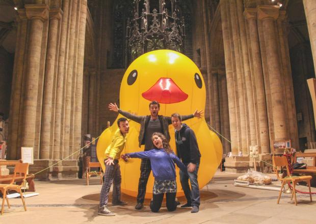 Adam Moss, Duck publicity officer; with Chris Pocock, Krystina Warrington and David Morris, all officers at Durham Students' Union, in Durham Cathedral, pictured with the Duck mascot