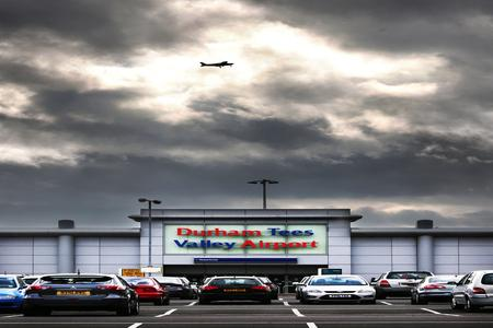 AVIATION BASE: A plane flies over Durham Tees Valley Airport
