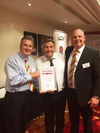 MOST IMPROVED: Richmondshire Rugby Club president Nick Hunter (left), future RFU presidentJason Leonard and Richmondshire development officer Jon Moulding.