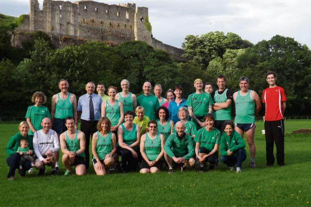 FUN RUN: Members of Swaledale Runners in front of Richmond Castle.