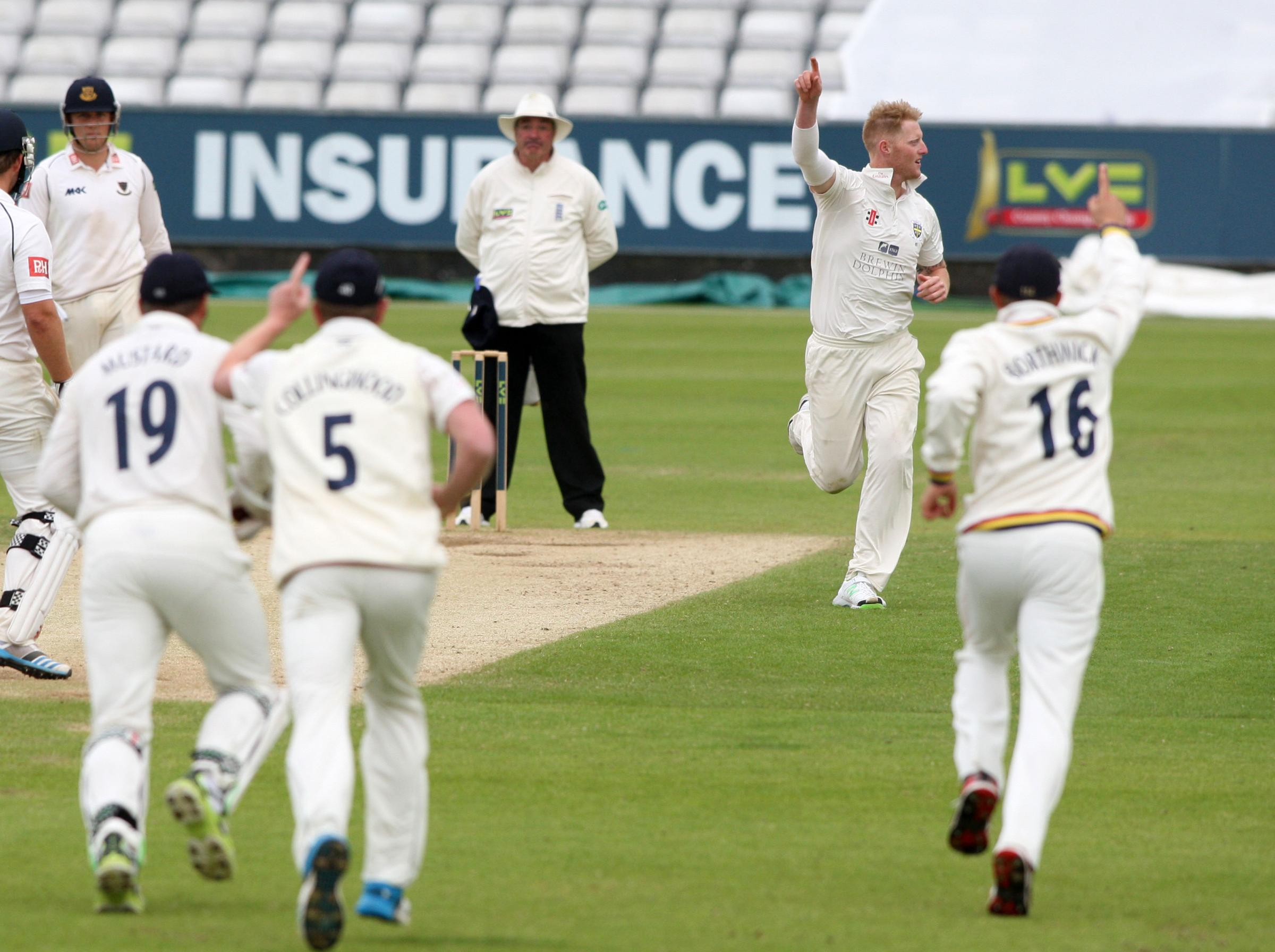 TOP PERFORMER: Durham's Ben Stokes has three second innings wickets to his name, after taking seven in the first innings