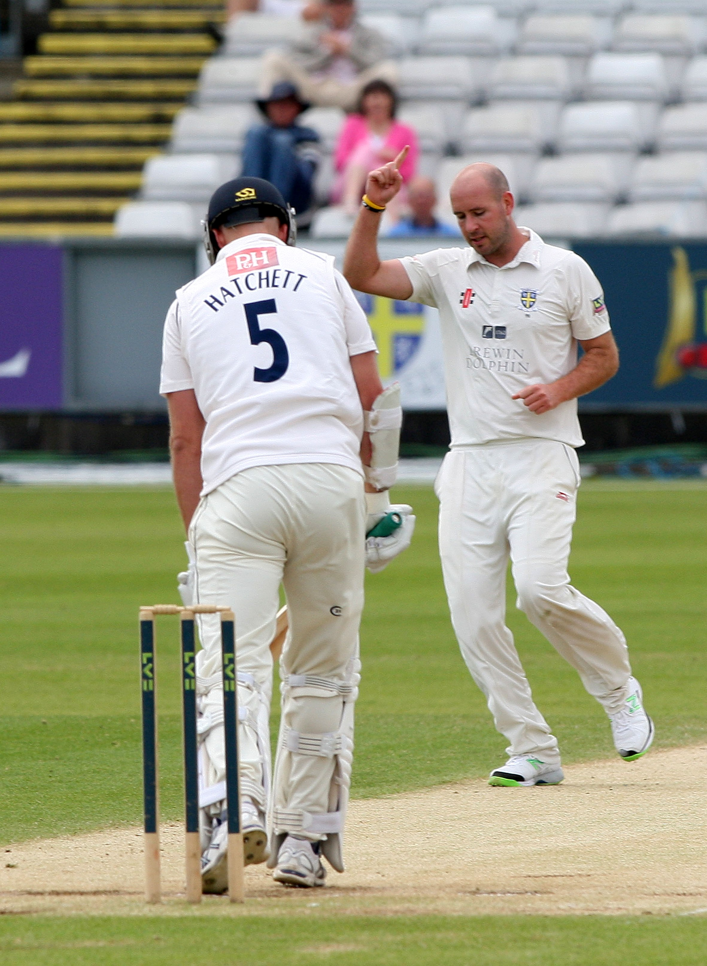 CLINCHER: Chris Rushworth after bowling the winning ball against Sussex yesterday. Picture: TOM BANKS
