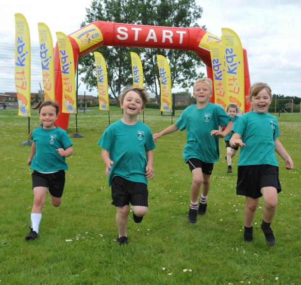 FUN RUN: Skerne Park pupils Ella Franks, Aiden Shoesmith, Cody Rucroft, Jack Grieves and Marley Rogers, all aged six, try out the equipment