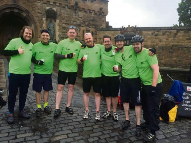 CHARITY RIDE: The Green Tree Cycling Squad, David Galloway, Matthew Walton, Andrew Wilson, Simon Eltringham, Gillon Hopson, Ryan Pearson and Marcus Johnson, at the end of the fundraising ride.