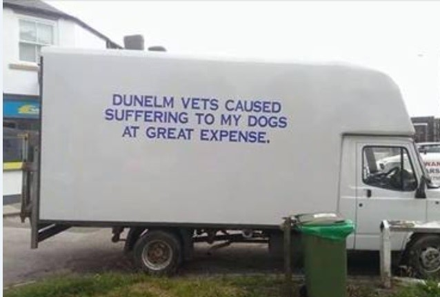 The van parked outside Dunelm Veterinary Practice