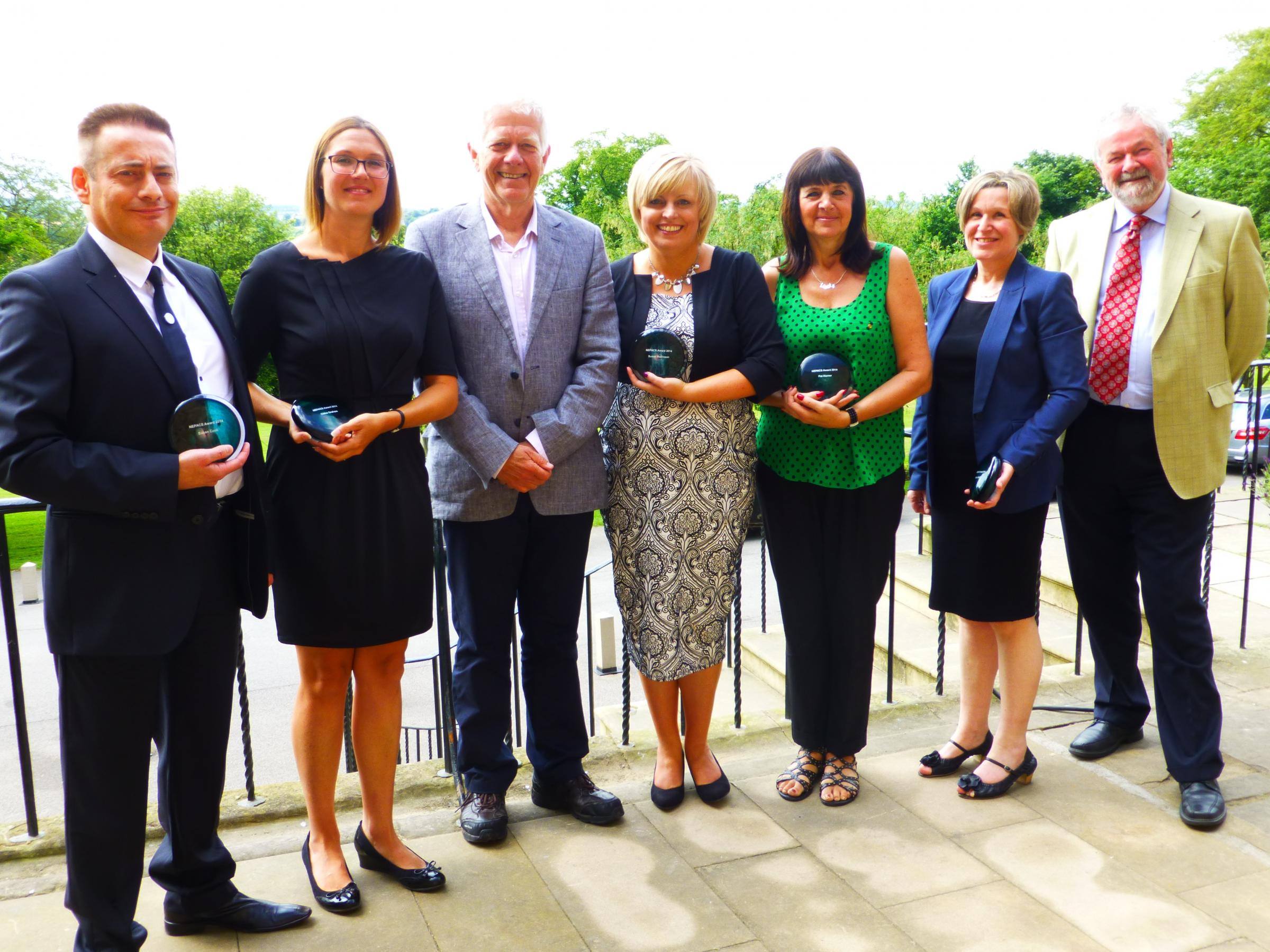 From left to right: Mick Hogg (representing Susan Cook from Durham Tees Valley Probation Trust), Chloe Graham (learning and skills manager at HMP Holme House), Clive Martin (Director of CLINKS), Susan Robinson (HMP Frankland), Pat Horner and Debra Middlet