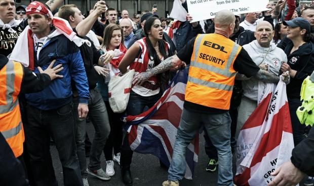 EDL supporters shout abuse at Musli