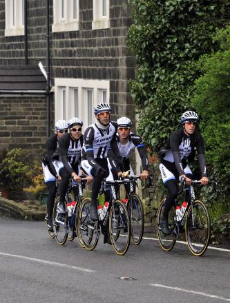 CRIME ALERT: Riders from the Giant Shimano team try the route of the Tour de France in Yorkshire, which a Neighbourhood Watch group has predicted will attract many criminals