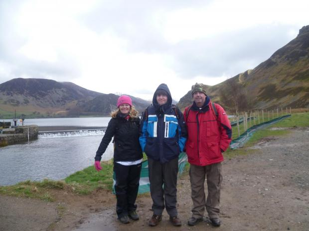The Northern Echo: Alan and Rita McCree with their son Patrick (centre) near the start of the coast-to-coast walk