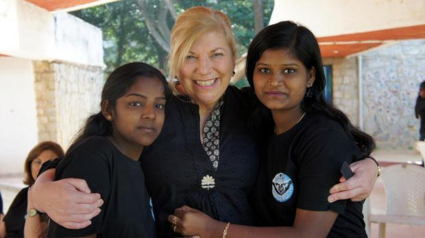 Janet Maitland on a previous trip to India
