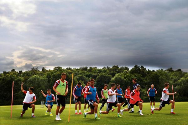 BACK TO WORK: Middlesbrough squad train for first time this summer