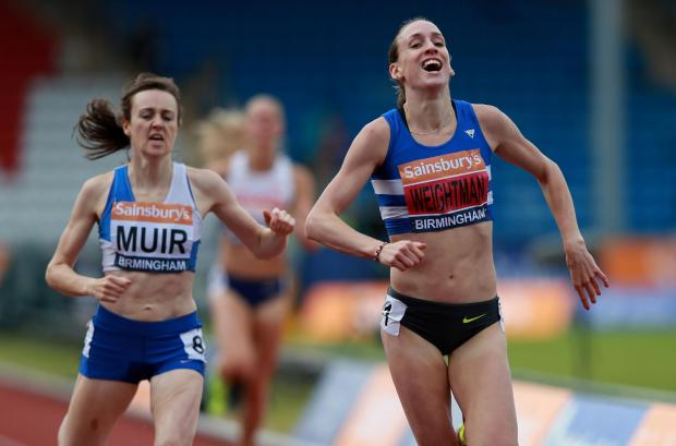 BRITISH SUCCESS: Laura Weightman (right) celebrates after winning the 1,500m title at the British Championships in Birmingham last weekend