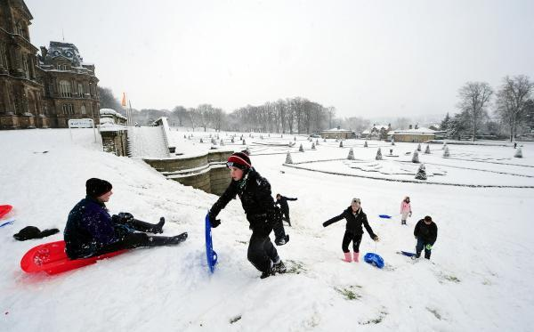WINTER WONDERLAND: Youngsters enjoy sledging at Bowes Museum in Barnard Castle, County Durham. M and S Plastics, in Spennymoor, is known for its production of sledges