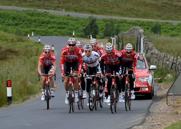 PRACTICE RUN: Andre Greipel (centre white jersey) rides with the rest of the Lotto Belisol Team for the Tour de France out training on the course for Stage 1 of the Race between Leeds and Harrogate as they tackle a climb near Leyburn