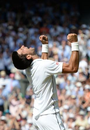 THE STROKE OF A CHAMPION: Novak Djokovic yesterday showed his class in a five-set victory in the Wimbledon final