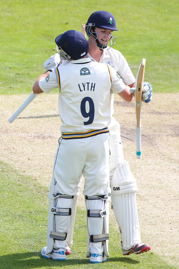 DOUBLE CENTURIANS: Alex Lees gets the praise from Adam Lyth after reaching 100
