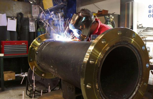 WELDING WORK: Welder Gary Atkinson makes a test rig for a pig at Inpipe Products, in Brompton on Swale. Picture: RICHARD DOUGHTY