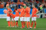 DUTCH DESPAIR: Netherlands players appear dejected in the penalty shoot-out during the World Cup Semi Final at the Arena de Sao Paulo
