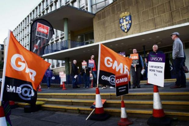 The Northern Echo: WALK OUT: Union members picket outside County Hall, Durham City.