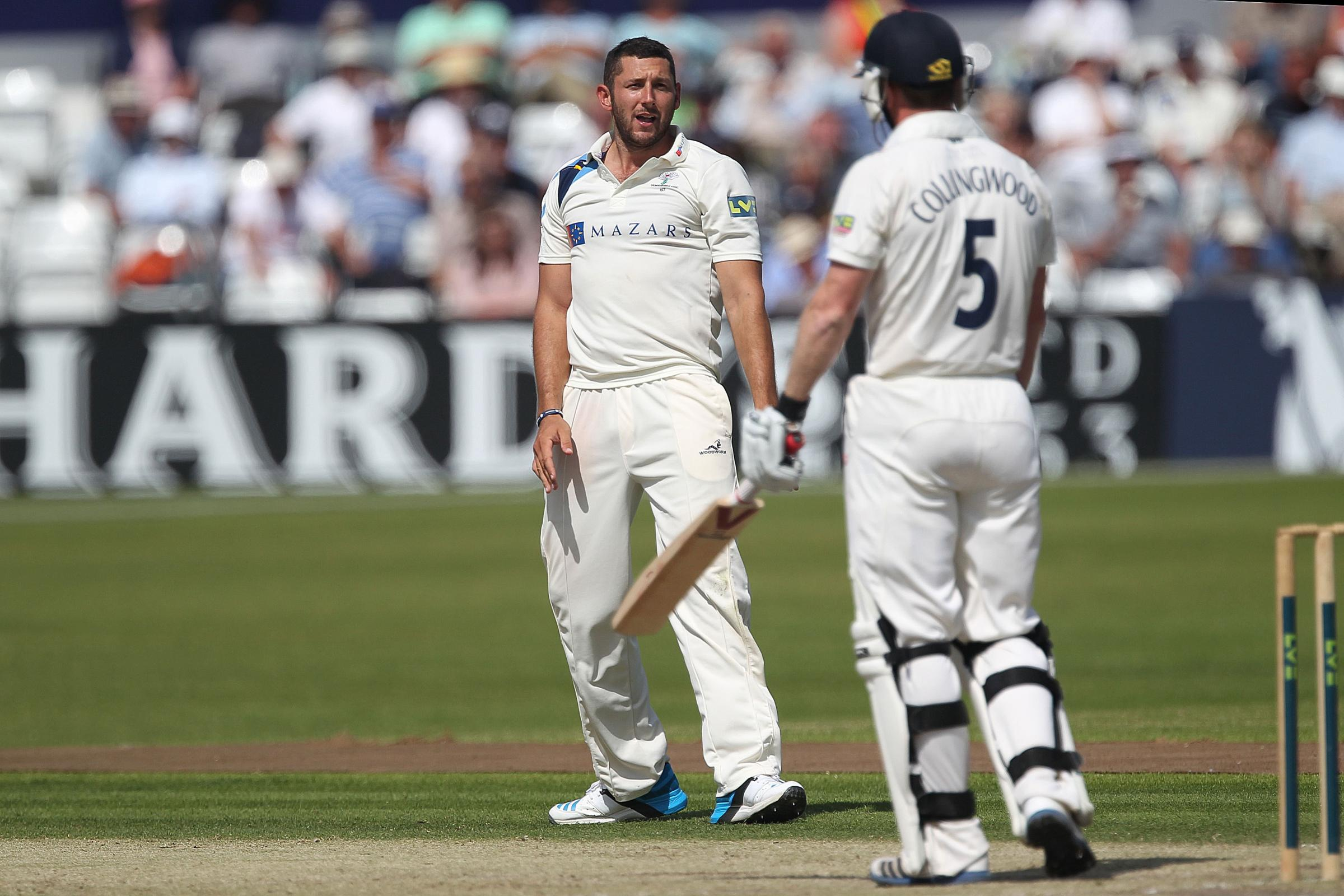 LEEDS, ENG. Yorkshire's Tim Bresnan and Durham's Paul Collingwood exchange words during Day 3 of the LV County Championship match between Yorkshire vs Durham at the Headingley Stadium, Leeds on Wednesday 9th July 2014. (Photo: Mark Fletcher | Shut