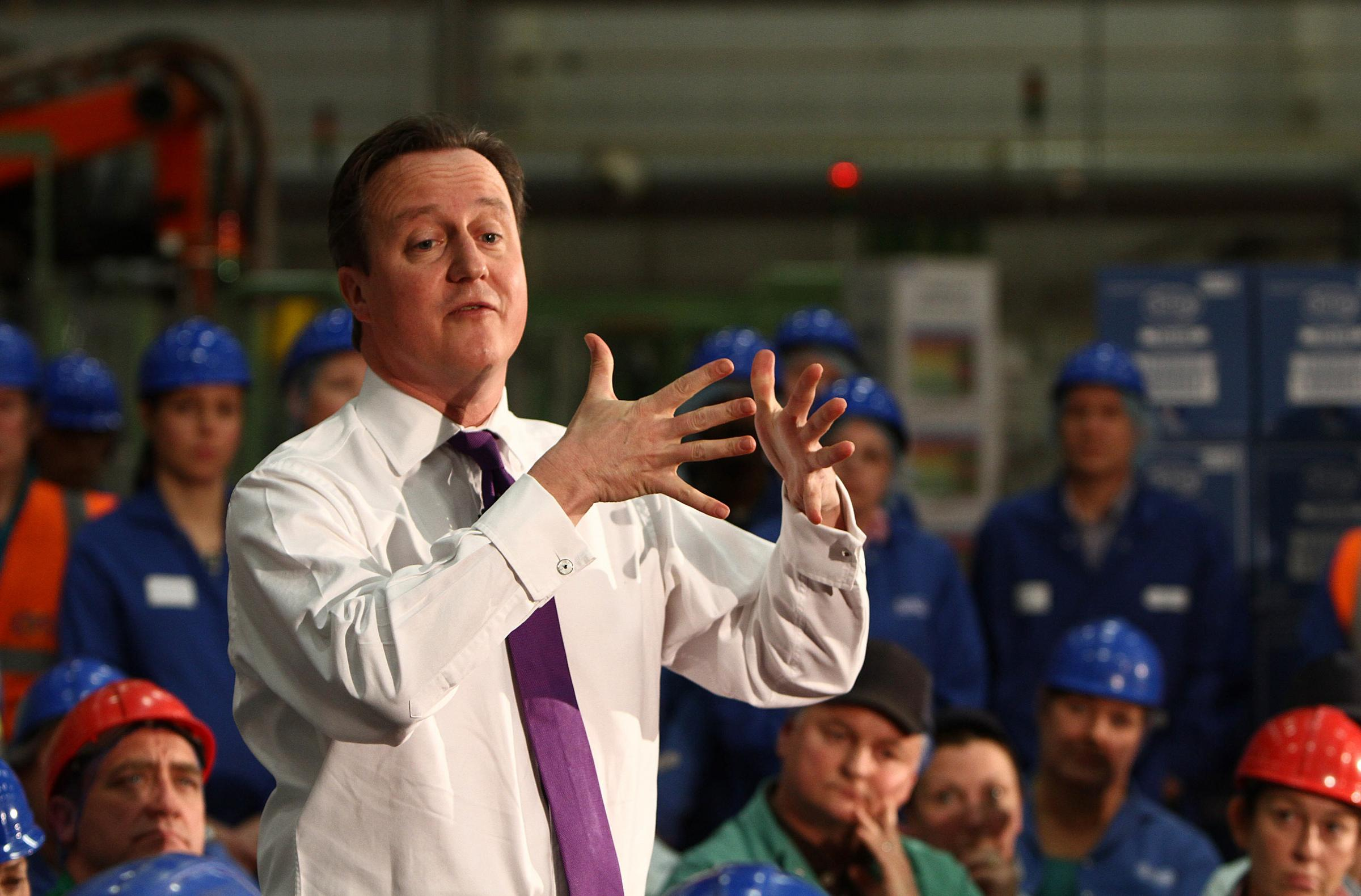 TRADE DEAL: Prime Minister David Cameron, pictured during a visit to Tetley's tea factory, in Eaglescliffe, near Stockton, has described the Transatlantic Trade and Investment Partnership as a once in a lifetime opportunity
