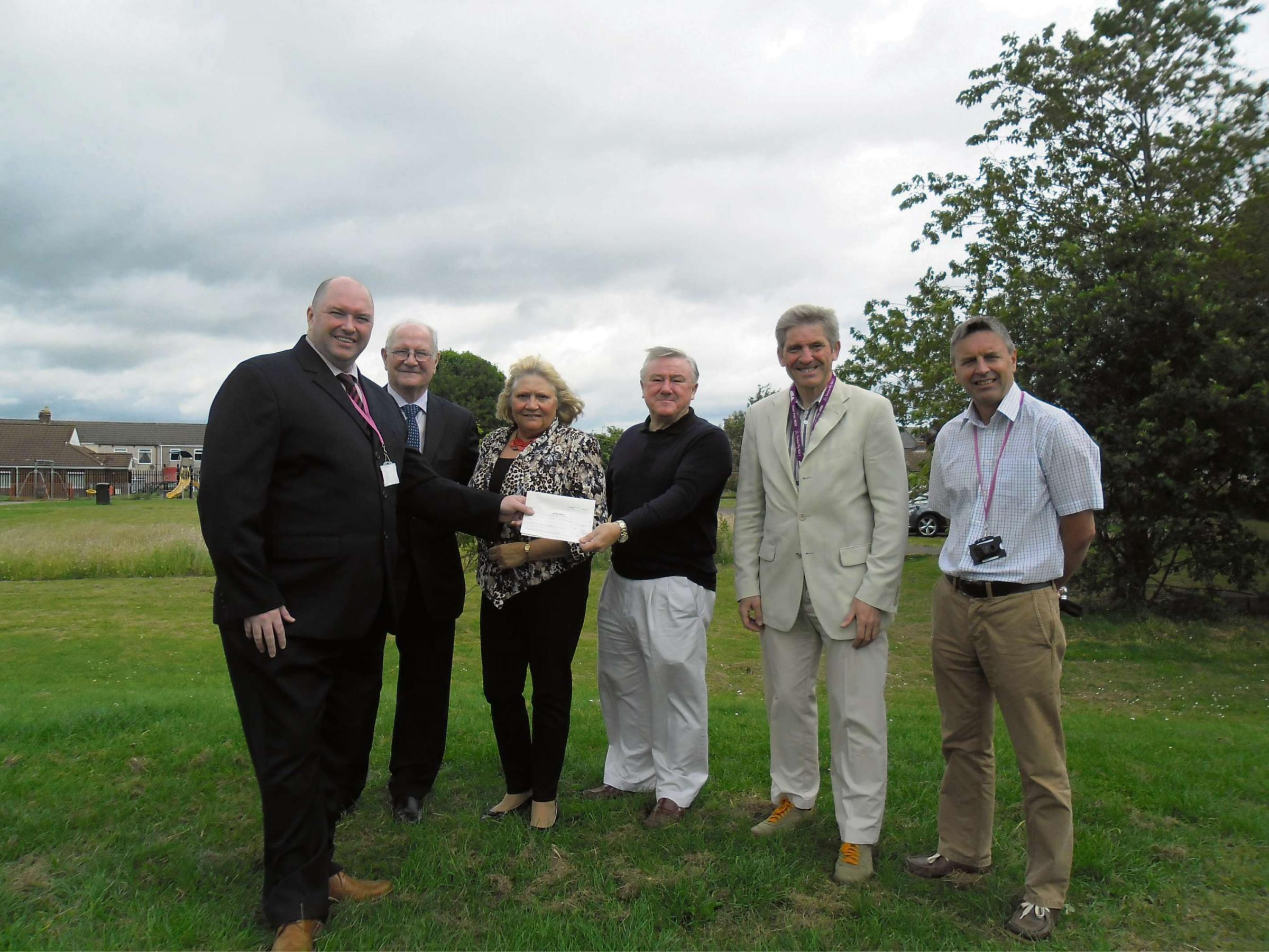 GYM GRANT:  (L to R) Malcolm Gray, community investment advisor for livin,Councillor Morris Nicholls, Councillor Lucy Hovvels, Dr Alan Bell, treasurer of Trimdon Colliery Community Association, Councill