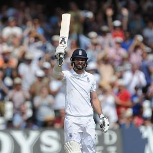 The Northern Echo: James Anderson raised his bat after reaching a maiden 50