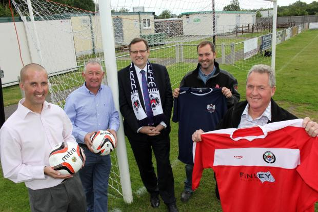 SUPPORTIVE TEAM: Newton Aycliffe Football Club general manager, Dan Lewis, chairman, Allan Oliver, president and Sedgefield MP, Phil Wilson, SCH Site Services managing director, Gary Finley, and Finley Structures boss, John Finley.