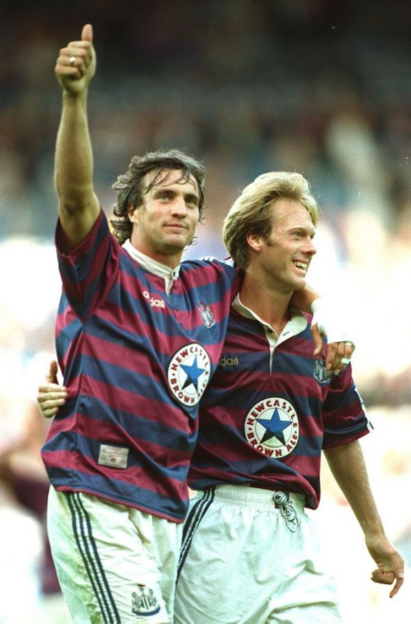 FROG ON THE TYNE: Newcastle supporters had a crowd hero in Frenchman David Ginola, left, pictured celebrating a goal at Sheffield Wednesday with Warron Barton