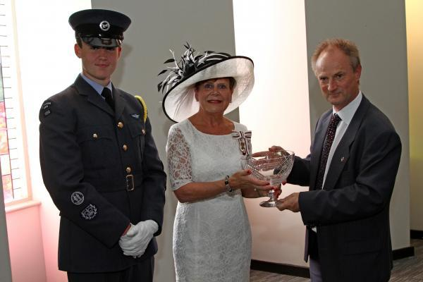 QUEEN'S AWARD: Lord Lieutenant Sue Snowdon presents Steve Jenkins from Ikon GeoPressure with the Queen's Award for Enterprise, with help from Luke Hamilton, of Seaham Air Cadets
